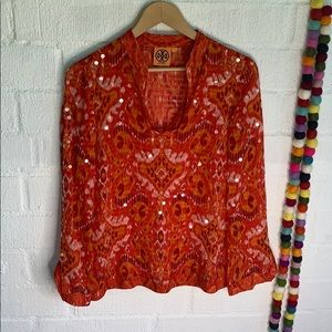 Tory Burch Sequin Silk Blouse V Neck sz 0